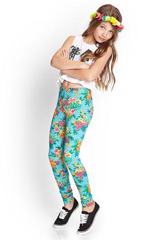 Tropical Print Leggings Kids Forever 21 2000069090