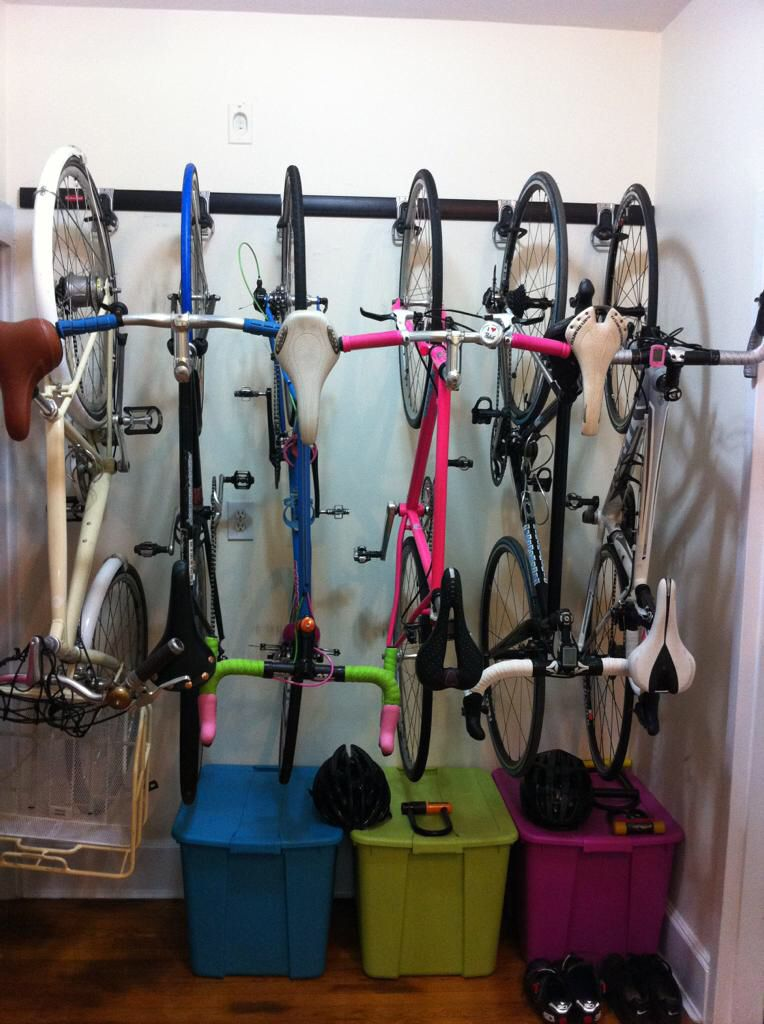 Rubbermaid Fast Track for use as in apartment bike parking