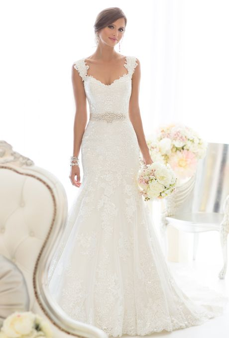 Classic lace gown over dolce satin featuring sweetheart neckline ...