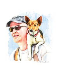 Watercolor Style - Your Pet as Art From a Photo - Examples with Pets and their owner - Dog - Great Gift http://www.giveamasterpiece.com/eshop/10expand-watercolor.asp