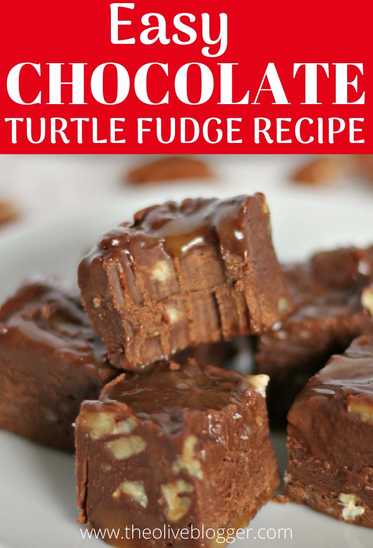 Chocolate Caramel Turtle Fudge Recipe The Olive Blogger Recipe Fudge Recipes Fudge Recipes Easy Turtle Fudge Recipe