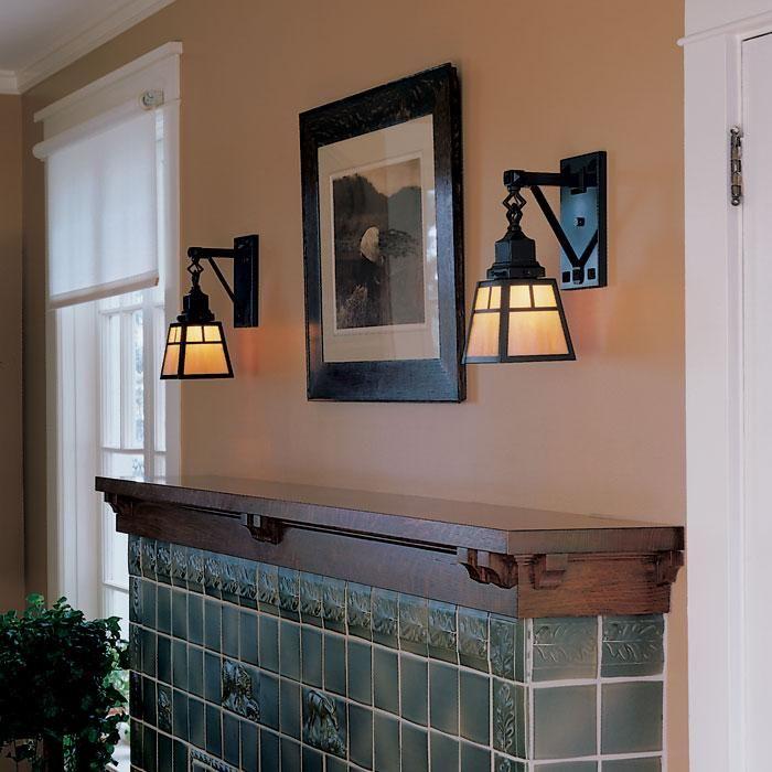 Nashota™ One Light Sconce Lights an Arts & Crafts Style Fireplace ...