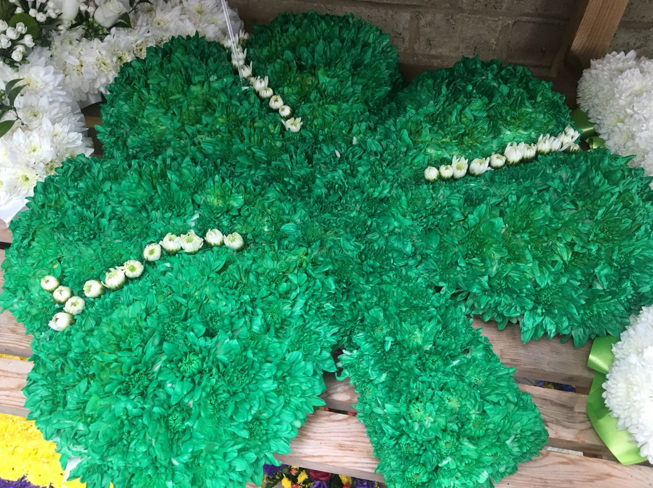 Shamrock funeral tribute bloomin chic funeral flowers pinterest shamrock funeral tribute izmirmasajfo