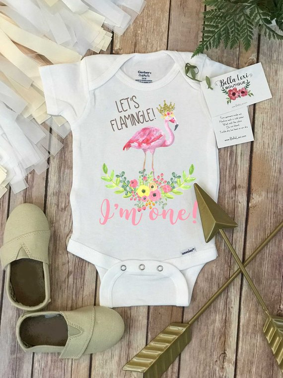 1f9f9fe47f Birthday Onesie®, Let's Flamingle, First Birthday Onesie, Flamingo ...