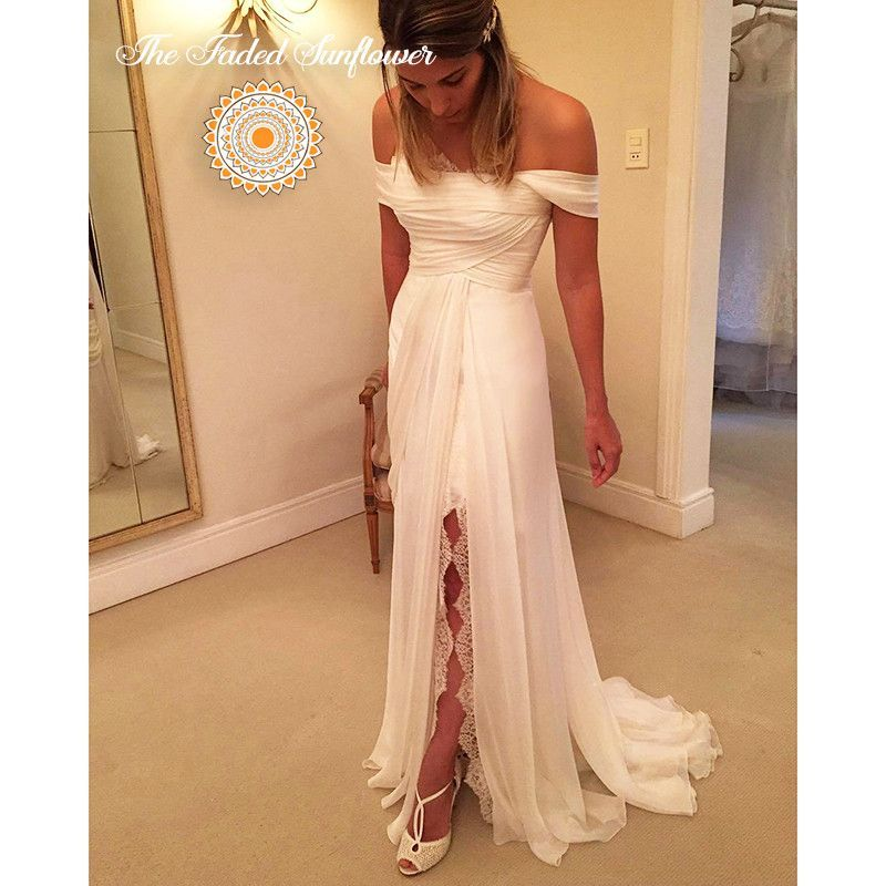 Boho Goddess Off Shoulder A Line Beach Wedding Gown
