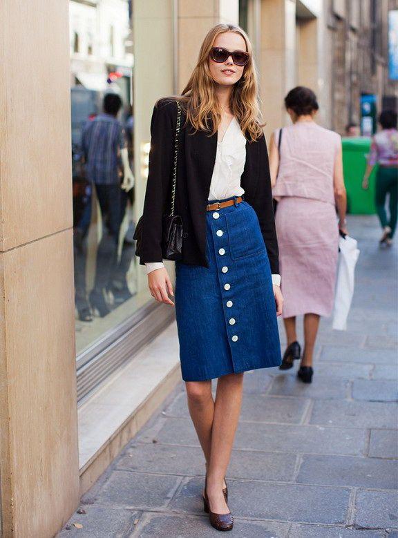 b2aee05723 Front Closing Midi Denim Skirt | Modest in 2019 | Denim skirt ...
