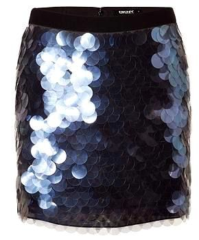 DKNY's Eye Catching Modern Sequen Stretch Silk Mini Skirt — Dazzling completeness of beauty, DKNY's modern sequined stretch silk mini-skirt radiates eye-catching results