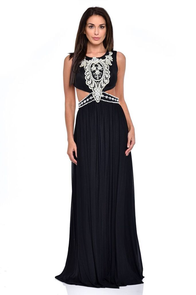NAZZ COLLECTION LAILA BLACK CUT-OUT WAIST PEARL ENCRUSTED GRECIAN ...