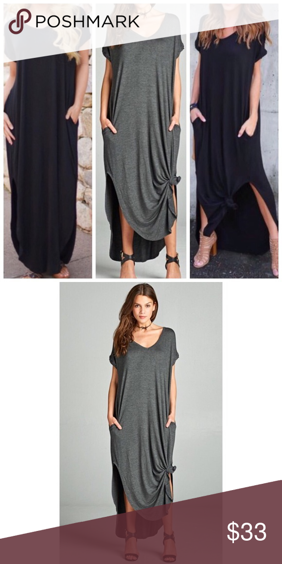 311f218765 Charcoal Gray Oversize Loose Fit Maxi Dress S M L Available in 9 colors  now!! Black