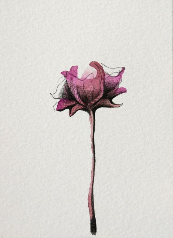 FLOWERS - Small size - Drawings with Ink, pencil and acrylic on acid free paper Sennelier/Par, via Etsy.