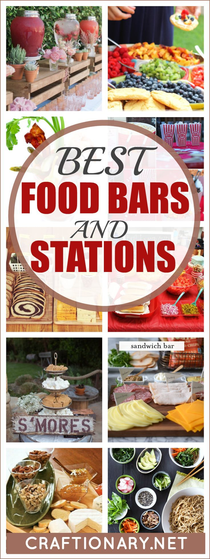 Best Food Bars And Food Stations With Luxurious Decor Style Craftionary In 2020 Party Food Bars Party Food Buffet Best Party Food