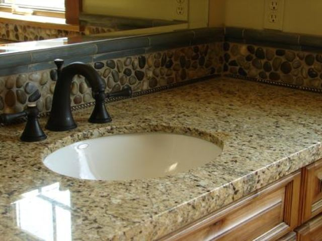 bathroom vanities with venitian gold granite | new venetian gold