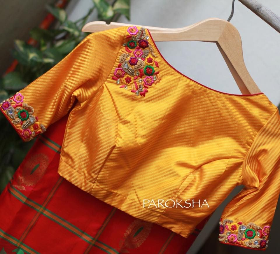 Beautiful Yellow Color Designer Blouse With Floral Design Hand Embroidery Thread Work On Yoke ...