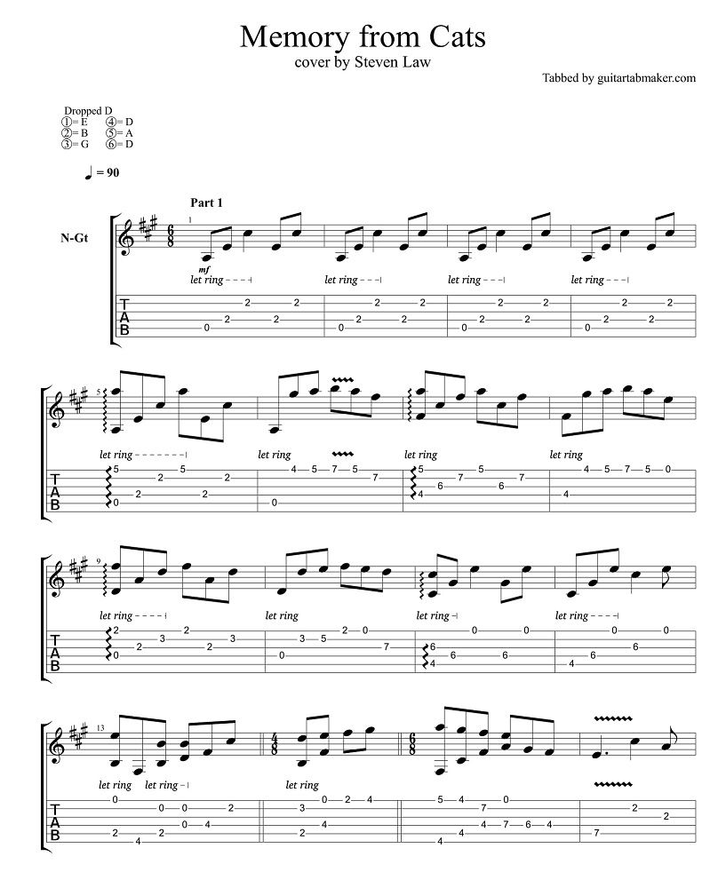 Memory From Cats Classical Guitar Tabs