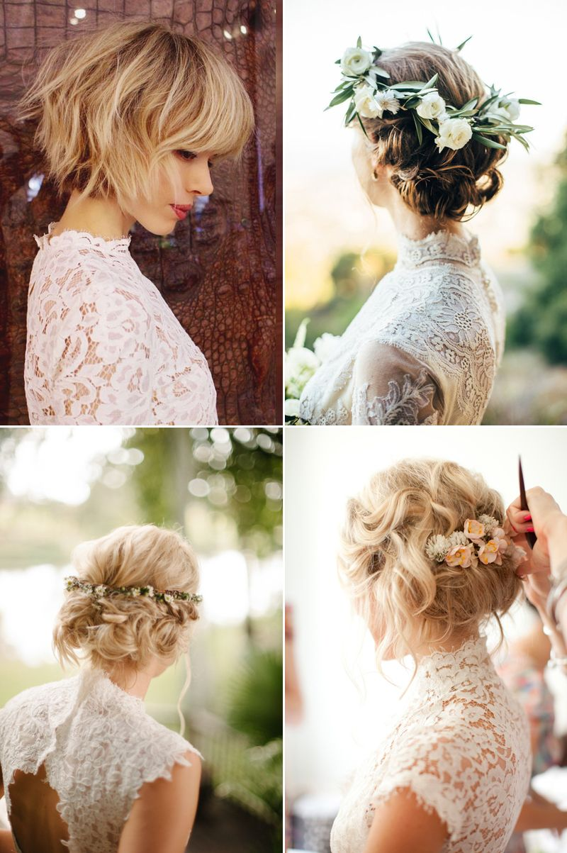 6 Beautiful Wedding Dress Styles For Brides With Short Hair Short Hair Bride Bride Hairstyles Short Wedding Hair
