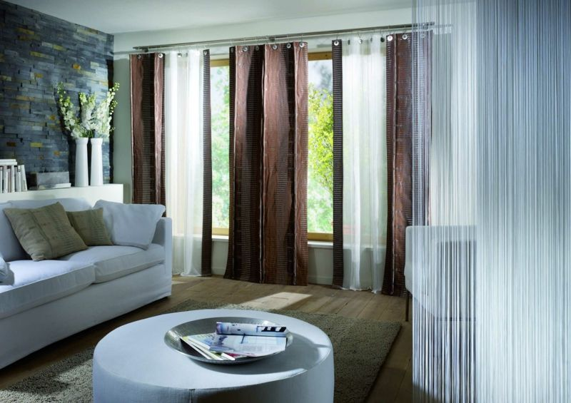 Wohnzimmer Einrichtung ~ Gardinen und vorhänge rotbraun modern wohnzimmer einrichtung weiss