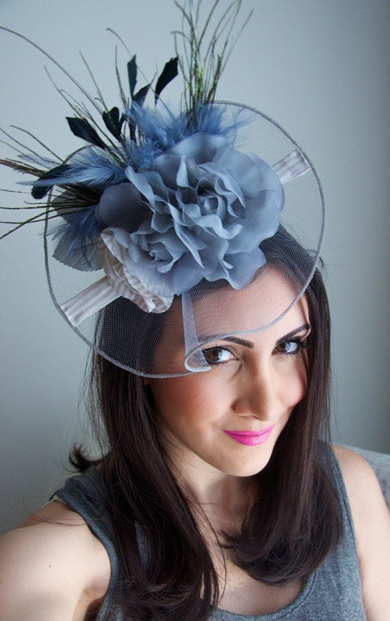 Gray Fascinator Hat English Rose Couture Hat by EyeHeartMe  7a71b905fd3