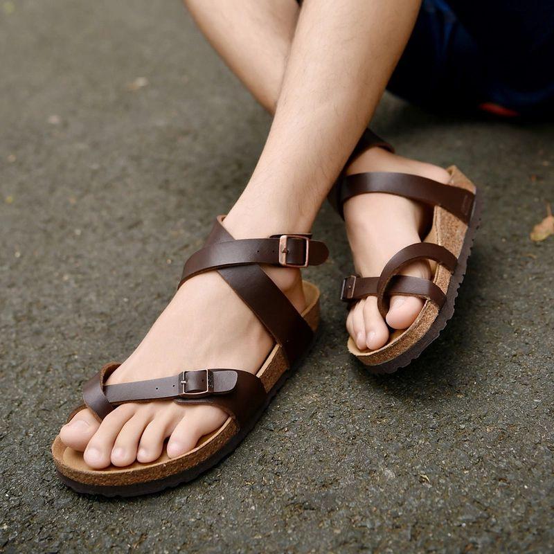 Hot Mens Real Leather Peep Toe Flat Heel Roman Gladiators Sandals Beach Shoes sz
