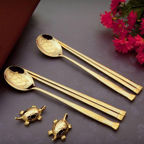 Korean Spoon Chopsticks 2pcs Gift Set Luxury Turtle Design Special Titanium Utensilios De Cozinha Cores Korea
