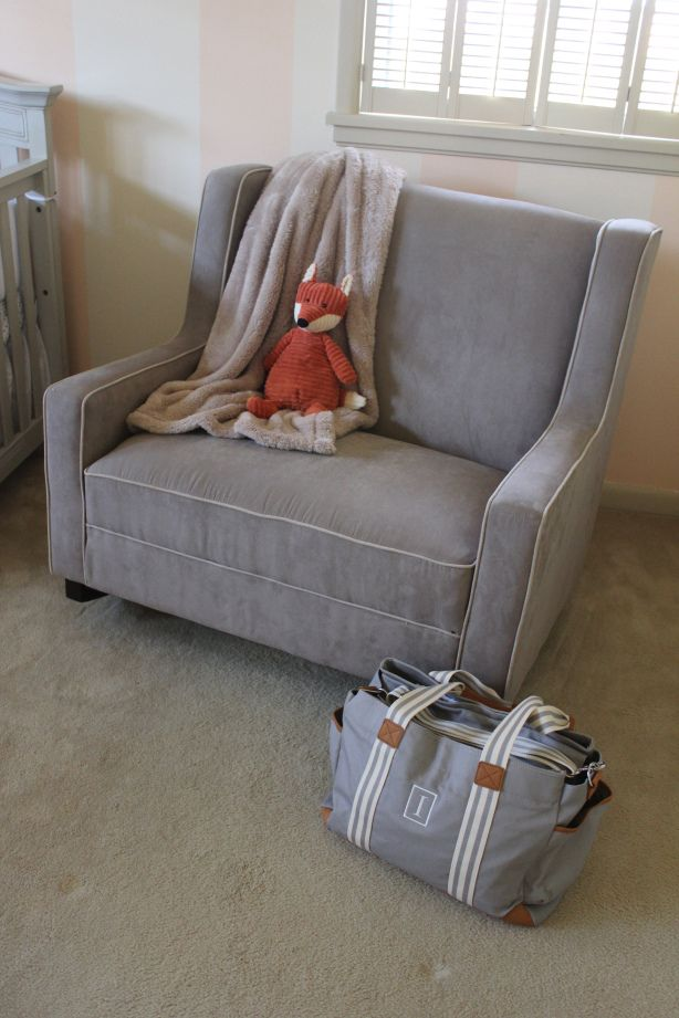 gray rocking chair for nursery how to sew a bean bag peach with foxes our baby girl nursing rocker