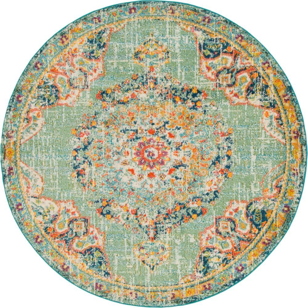 Unique Loom Penrose Alexis Green 6 Ft X 6 Ft Round Rug Round