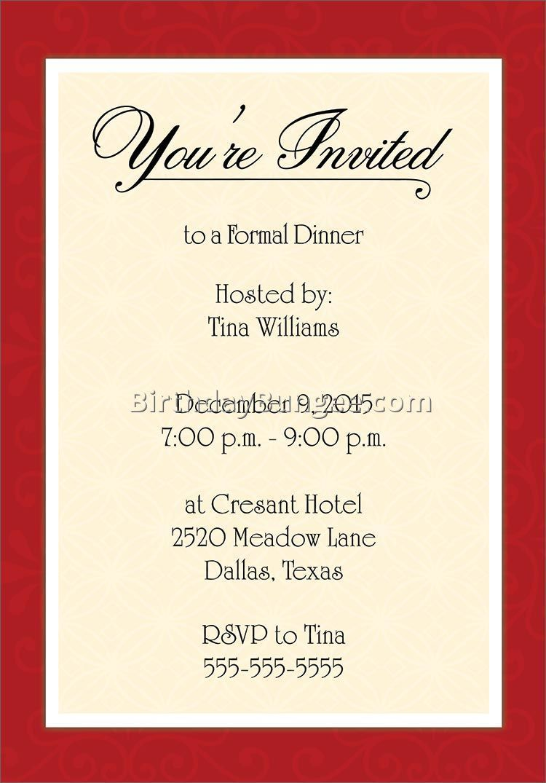 Birthday Invitation Template : Birthday Dinner Invitation
