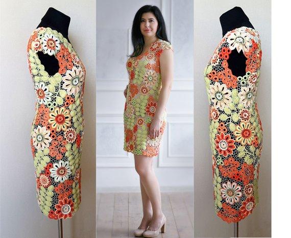 Irish crochet dress pattern,detailed tutorial,irish lace dress,crochet woman dress,crochet summer dress,crochet midi dress,irish lace motifs #crochetelements