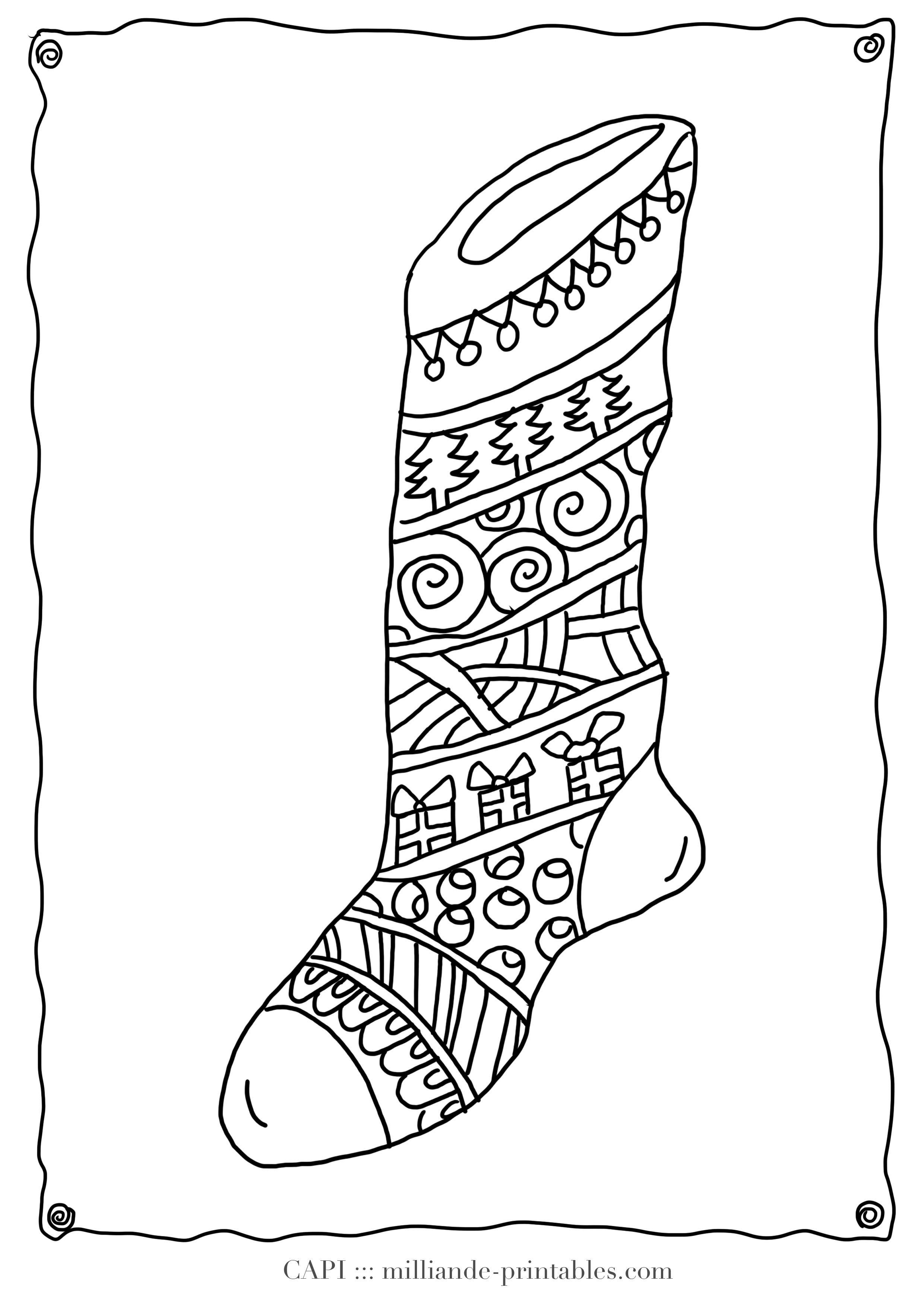 Christmas Coloring Page Stocking Milliande S Original Free Christmas Coloring Sheets