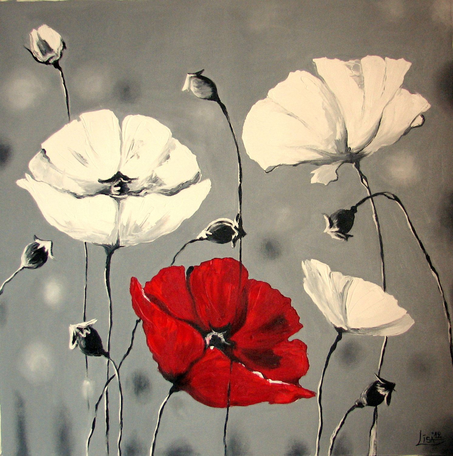 Acrylic Oil Painting White Red Poppies On High Quality Canvas Contemporary Art Huge 80 X 80 Xxxl 390 00 Via Etsy Pinturas Abstractas