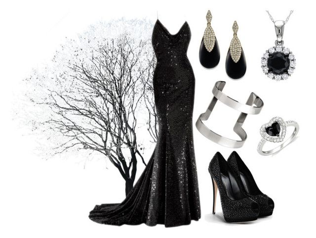 """Black"" by liccysilva ❤ liked on Polyvore featuring Giuseppe Zanotti, Carolee, Amour and H&M"