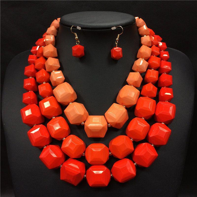 Afrykańskie koraliki biżuteria ustaw 2016 big chunky naszyjniki ...