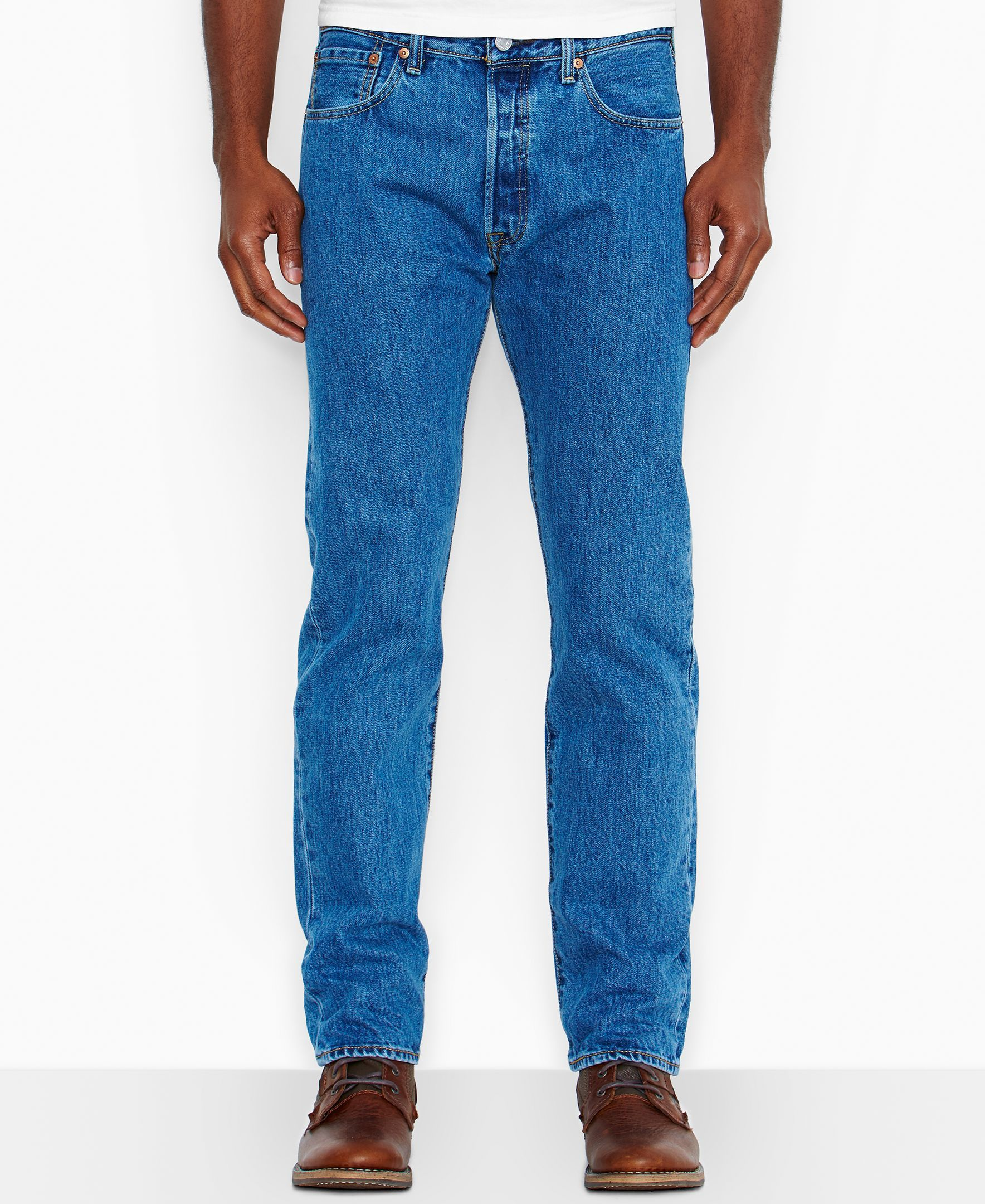 46dc6428 Levi's Big and Tall 501 Original-Fit Medium-Stonewash Jeans ...