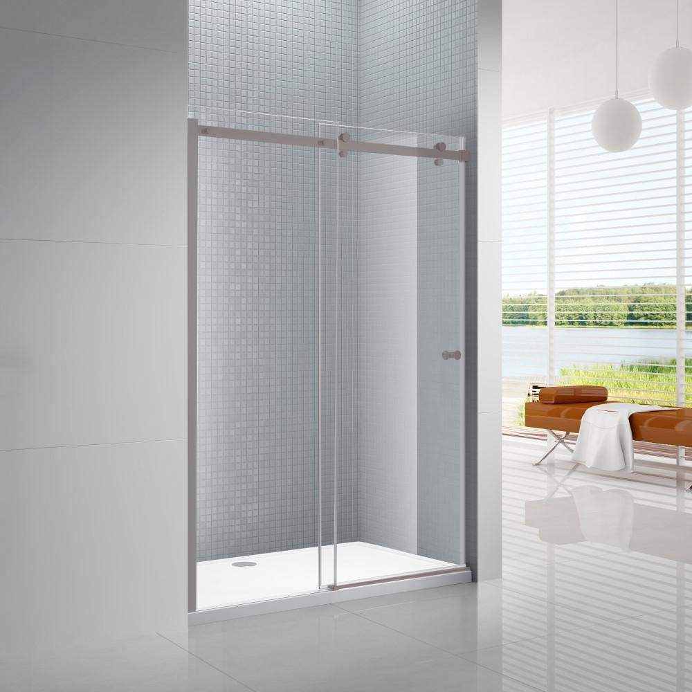 Amluxx Primo 60 in. x 72 in. Frameless Sliding Shower Door in Brushed Nickel with 6 mm Clear Glass-PRIMO-6-60BN #framelessslidingshowerdoors