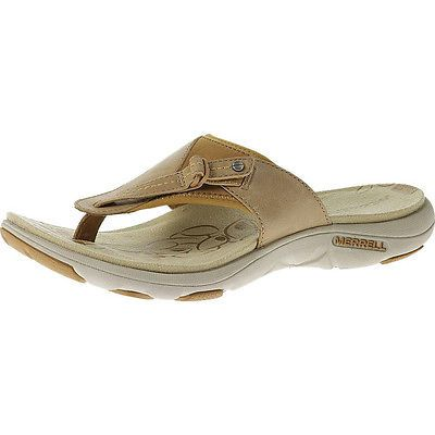 5406067f930c Merrell Grace Leather Flip Womens J22120-SAND DOLLAR Thong Sandals Wmns  Size 6