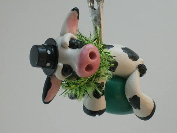 Cow Ornament Bovine in a Top Hat Christmas Keepsake Collectible Gift Idea