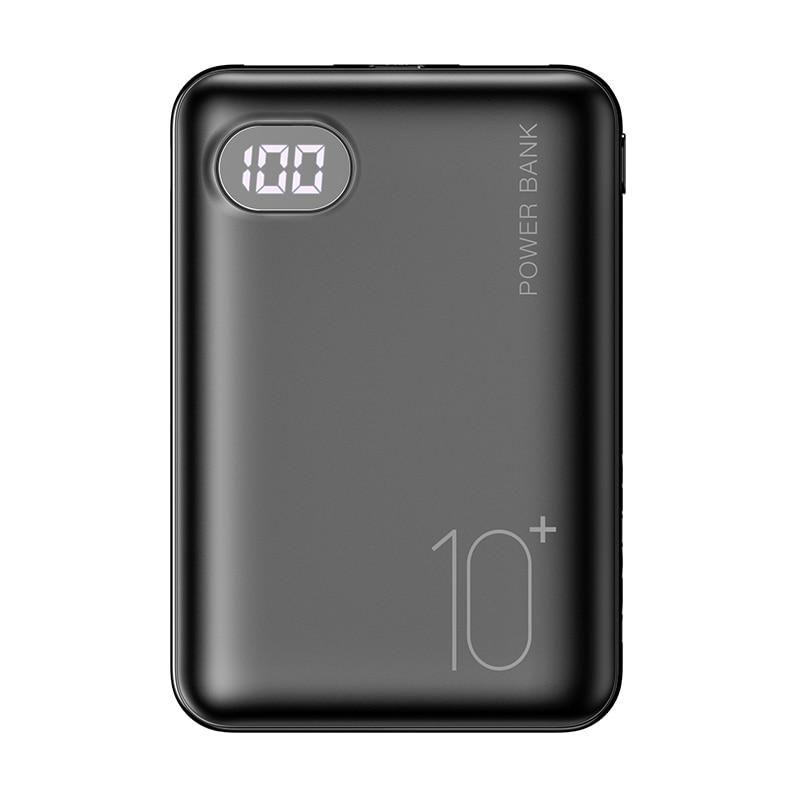 1PC Mini Power Bank 10000mAh Cell Phone Portable Charger - Black