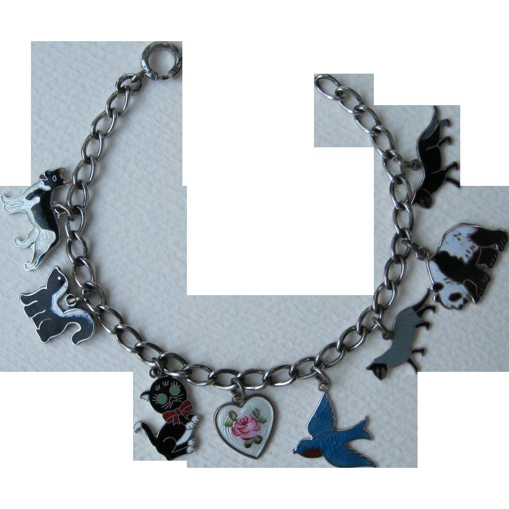 Vintage Sterling Charm Bracelet Cat Dog Bluebird Panda Skunk Flat Enamels