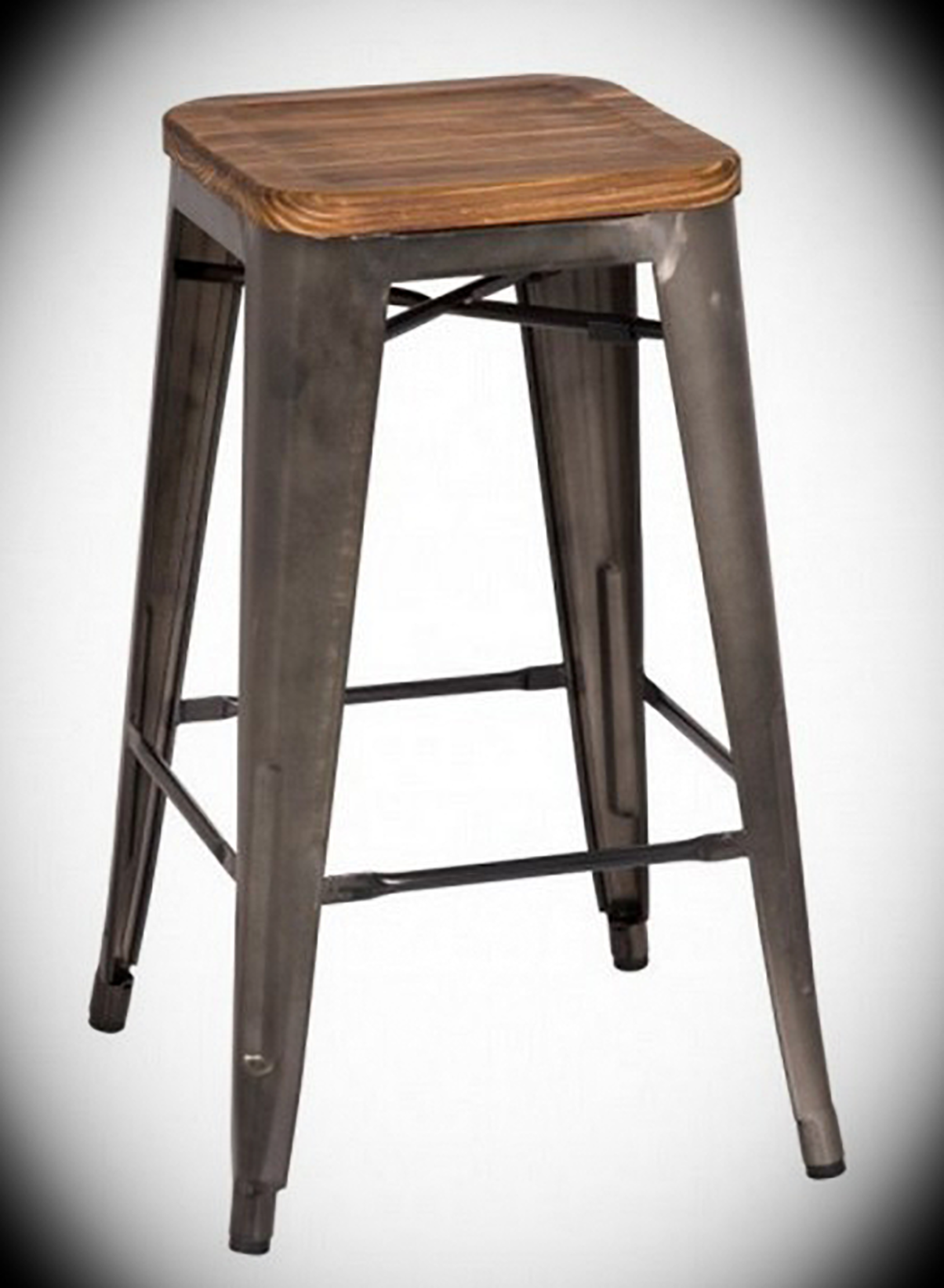 Counter height barstool metropolis gunmetal and wood width 17 height 26 depth 17 comfortable and sleek this backless counter stool with wood seat