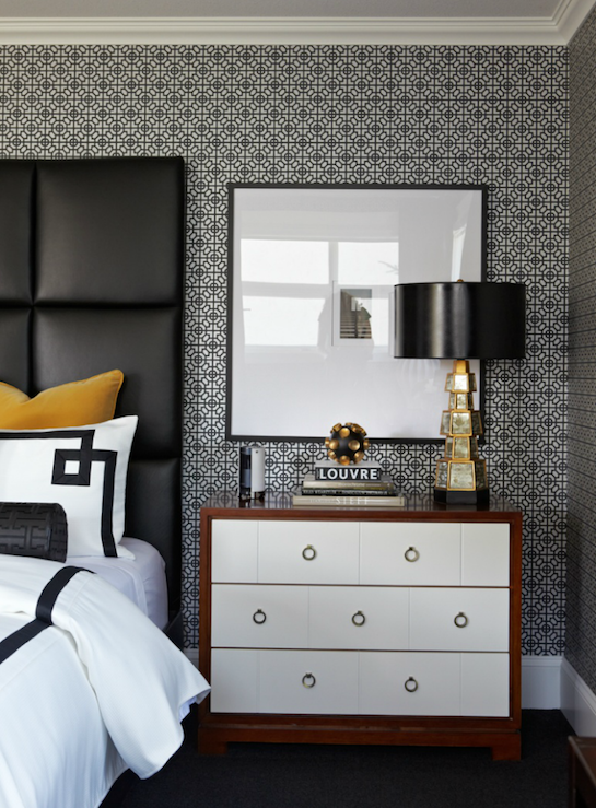 Modern Bedroom Wallpaper contemporary yellow & black bedroom design white & black small