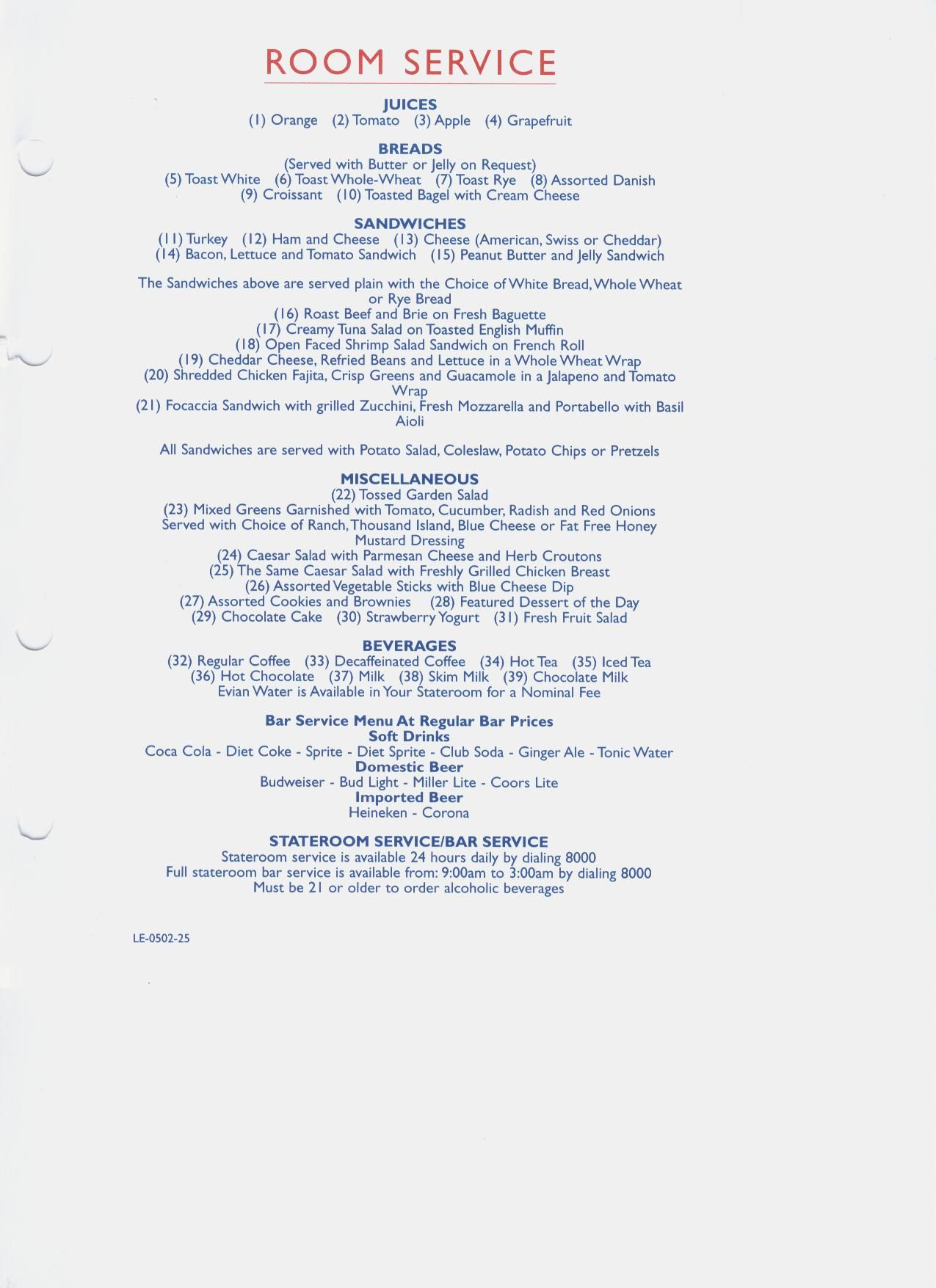 Carnival Victory Dinner Time Menus Carnival Features 24 Hour Ice