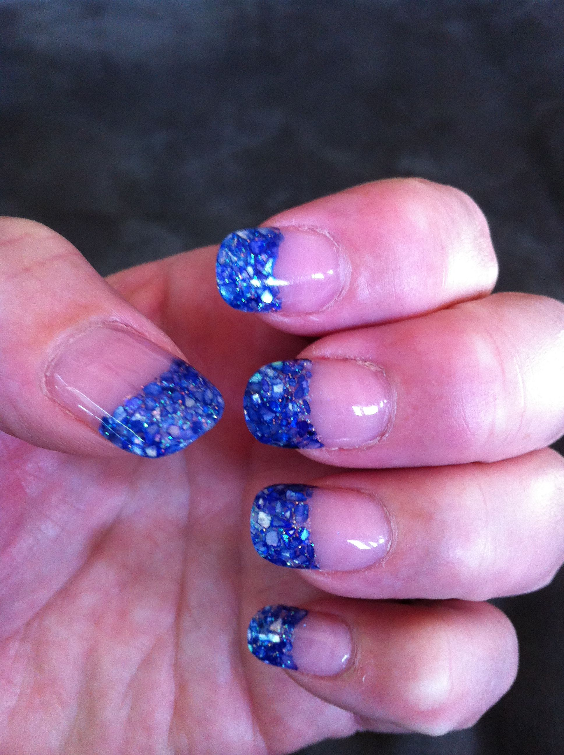 Blue Violet Crushed Sea Shell Nails