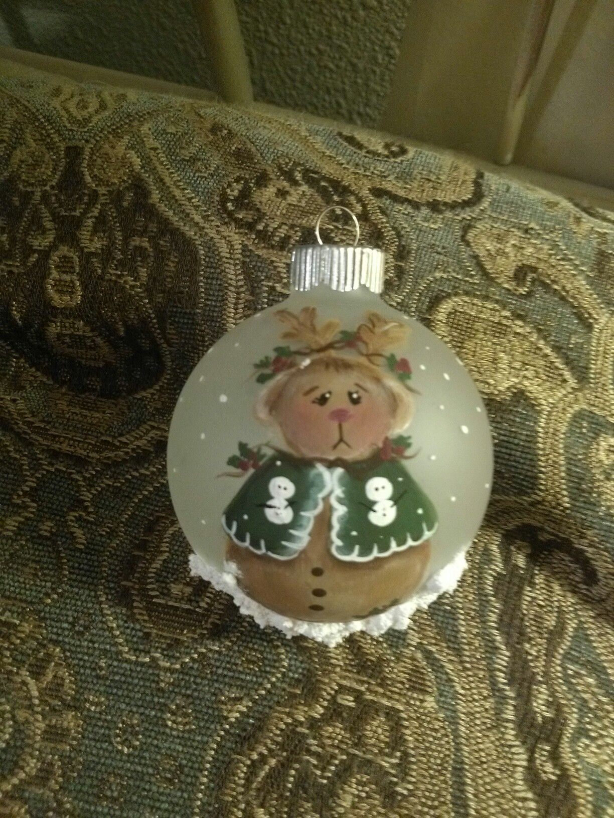 Hand painted Christmas ornament by   Cindy Lawhon