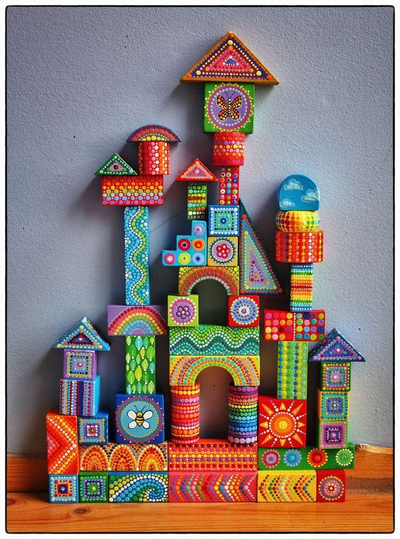 Painted Wooden Blocks Children Wooden Toys Wooden Toys Kids