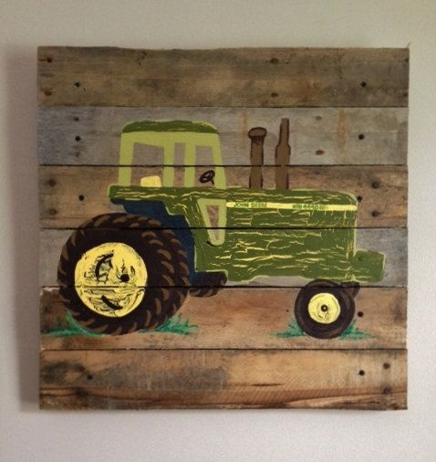 Tractor green 20x20 painted pallet art boys rustic wall for Tractor art projects