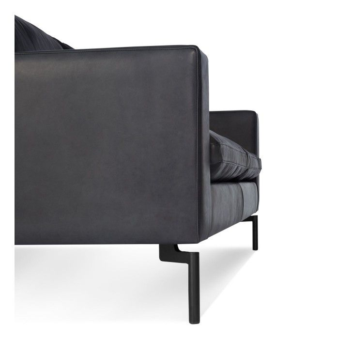 New Standard Modern Black Leather Sofa - Side Low Living Is All
