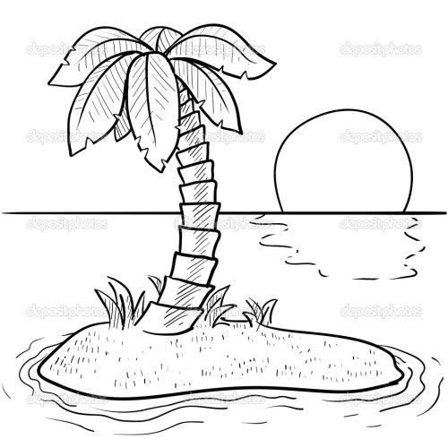 Landscape coloring page | Beach coloring pages, Palm tree ...
