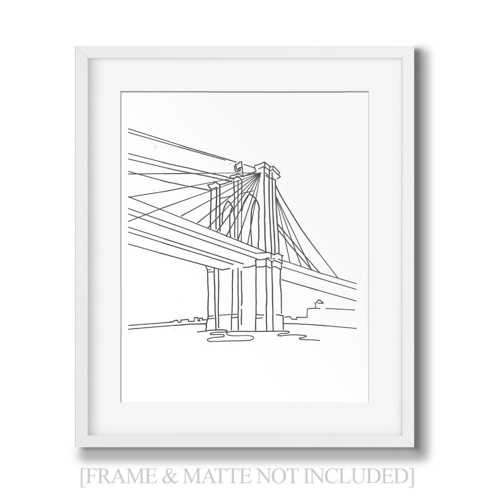 New York City Brooklyn Bridge Nyc Line Art Minimalist Wall Etsy New York Drawing Brooklyn Bridge New York Line Art