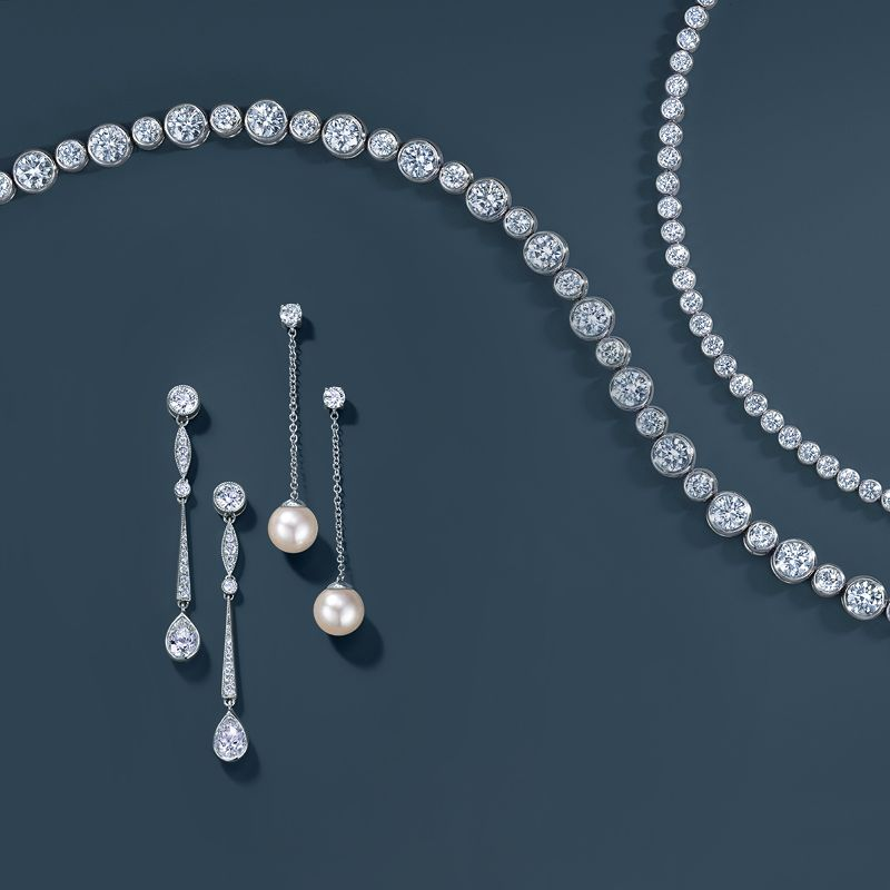6dde48e49 Tiffany Jazz™ diamond bracelets, pear-shaped single drop earrings in  platinum and Tiffany SignatureTM pearl and diamond drop earrings in 18k  white gold.
