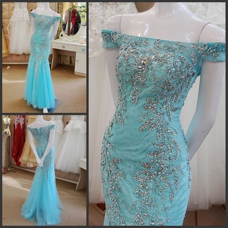 Sexy Beaded Crystal Long Formal Evening Dress Mermaid Celebrity Party Prom Gown #Handmade #BallGown #Formal