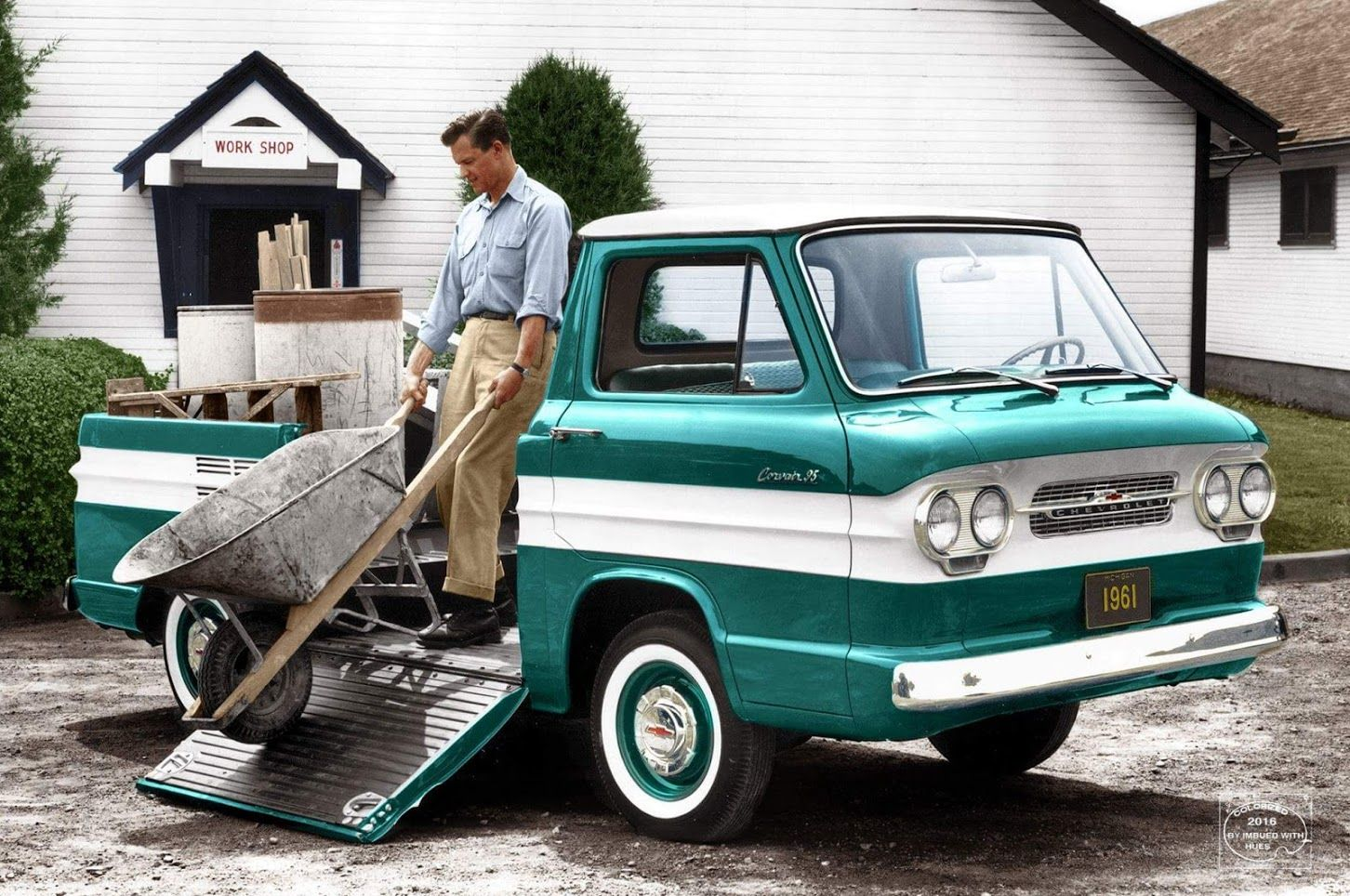 1961 Chevrolet Corvair 95 Pickup Truck Side Ramp Image Colorized By Imbued By Hues Chevrolet Corvair Chevrolet Trucks Pickup Trucks